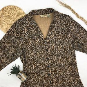 Vintage Leopard Print Button-Up Blouse